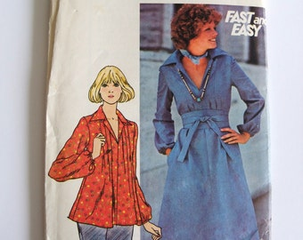 "Butterick 4608 Vintage 70s Sewing Pattern for Dress & Top with Tuck Front and Obi Sash Size 14 Bust 36"" Uncut Factory Folded"