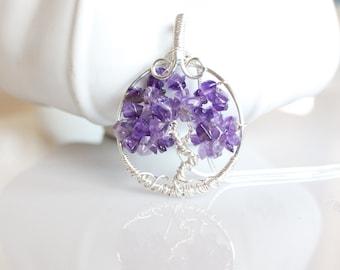 Amethyst Tree of Life Necklace Purple Tree of Life Pendant , Amethyst February Birthstone , Amethyst Jewelry , Amethyst pendant