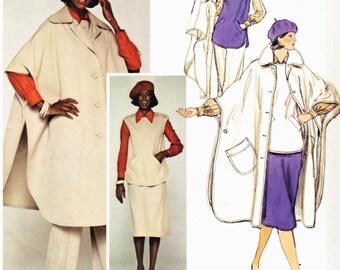 PATTERN Vogue 1376 Poncho cape coat front button closing round lapels top skirt pants blouse Size 10 Vogue Paris Original Nina Ricci (uncut)