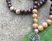 Yogi-inspired 108 wood bead mala meditation bracelet necklace with tree of life and natural picture jasper