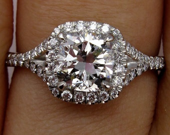 GIA 1.70ct Estate Vintage Cushion Cut Diamond Solitaire Engagement Wedding Diamond Halo Platinum Ring