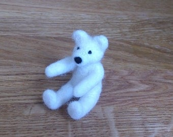 Teddy bear white miniature needle felted handmade love gift under 25