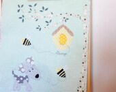 Custom modern patchwork applique baby stroller quilt, the dog and the bees, nursery decor, baby playmat,shower gift idea, made to order
