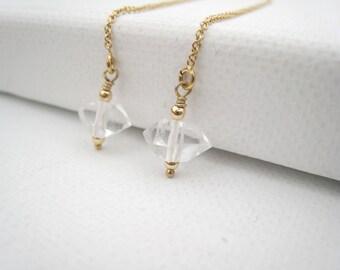 Herkimer Diamond Threader Earrings Gold Threader Earring Ear Strings Minimalist Modern Simple Jewelry Herkimer Quartz Bridal Wedding Jewelry