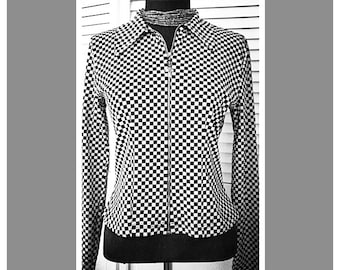 Early 90s Checkerboard Zip Up Jacket Size small