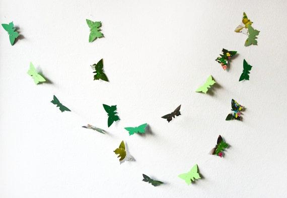 Green paper butterflies garland - wall decor