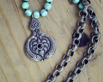 Live your dream - Turquoise & Oxidized Silver Meditation Necklace
