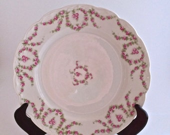 Porcelain Dinner Plate with Exquisite Flowered Rose Design - KPM - Made in Germany