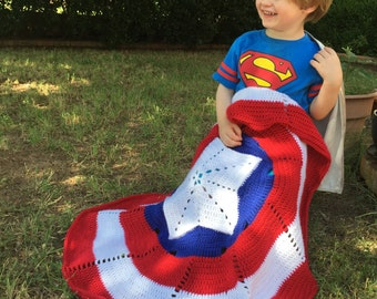 American Hero Crochet Pattern Small Blanket Instant Download-Inspired by Captain America