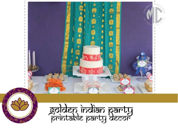 PRINTABLE PARTY COLLECTION -- Golden Indian Collection -- Mirabelle Creations