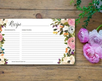 Blooming Recipe Card - 3x5 printable download - flowers floral wreath bold garden rose peony orchid wedding bridal shower mother's day gift
