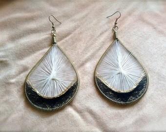 Colorful Thread Earrings, Tear Drop, Wire Jewelry, Dangle Earrings - Black & White -