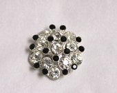 Vintage Style Metal Buttons - 3D cluster - clear stones - 26mm - set of 5