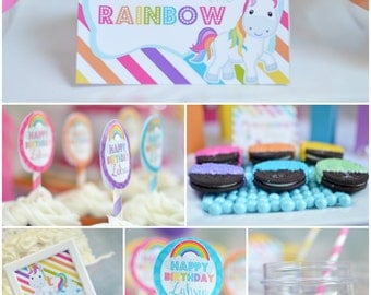 "Personalized Diy ""Rainbow Unicorn"" Birthday  Digital Printable Party Package"