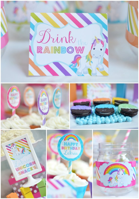 Personalized Diy Rainbow Unicorn Birthday Digital