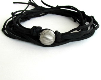 Black Choker, Wrap Leather Necklace, Cuff Necklace, Suede Choker, Single Bead Necklace