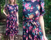 1990s floral Laura Ashley dress with puff sleeves