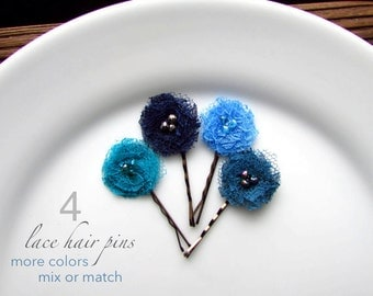 PICK 4 Blue Hair Pins, Blue Wedding Hair Flowers, Cornflower Blue Flower Hairpins, Shabby Chic Bridal Hair Flowers, Cornflower, Teal, Navy
