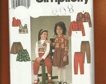 Simplicity 7745 Girls School Clothes Flared Skirt Bolero Pants & Vest Sizes  5..6.6x UNCUT