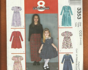 McCalls 3353 Raised Waist Country Dresses for Girls  Size 3 to 6   UNCUT