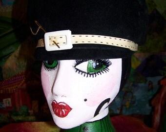 1960's Black brushed velour Hunt-cap styled women's hat