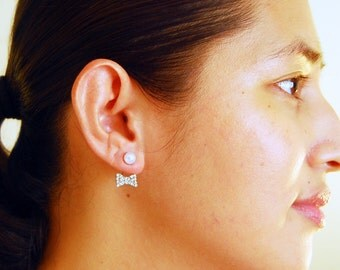Take a bow - two-way pearl stud earrings with bejewelled ear jacket, sparkly double sided earrings