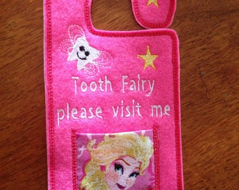 personalised girls elsa tooth fairy hanger