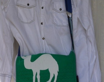 Upcycled Camel Tee Shirt Messenger Bag Again Repurposed Denim and Flanel Shoulder Bag