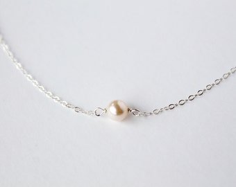 Simple pearl necklace choker - swarovski cream pearl - delicate sterling silver chain - minimalist modern choker by fildee