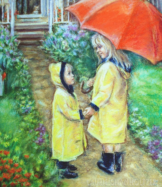 "Brother sister, Big Sister Little brother Raincoats, Red umbrella, Canvas or art paper print, Laurie Shanholtzer ""Time To Come Home"""