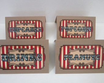 Vintage Circus Party Food Tents Place Cards ~ Set of 8~