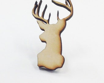 Deer Buck with Antlers Bust Pin   Laser Cut Jewelry   Wood Accessories