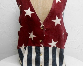 Vintage Vest Red White and Blue .Wear the American Flag.