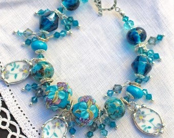 Bracelet, Broken China Jewelry, Broken China Bracelet, Beaded Bracelet, Handmade Aqua Teal Lampwork Beads, Sterling Silver