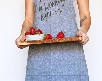 Organic Linen/Cotton Apron in Denim Blue - Collaboration Print 'I Shoud be Working Right Now' in Neon Pink