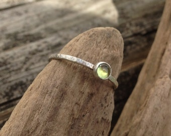 Peridot Ring, Sterling Silver Tiny Stacking Ring