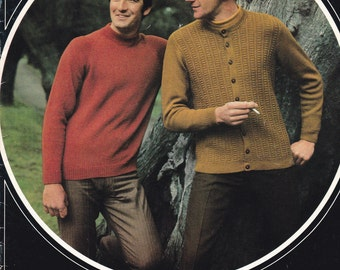Patons Knitting Pattern No 912 for Men, Man Talk in  Bluebell - Vintage 1970's Cardigans, Jackets, Jumpers, Sweaters
