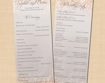Gray and Blush Shimmer Double-Sided Long Wedding Programs (4.25x11): Text-Editable, Printable Instant Download