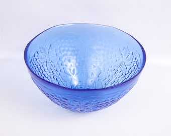 Vintage Cobalt Blue Crystal Bowl Grapes Leaves Vines Footed Salad Bowl Embossed Grapes Large Fruit Bowl Art Glass Centerpiece