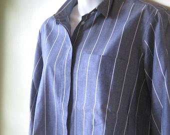 French Blue Vintage Striped Shirt~Men's Size 8 Shirt by John Henry; Women's Medium-Lg Blue Shirt; Free Ship/U.S.