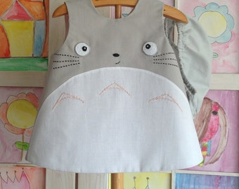 totoro baby dress, totoro clothing, studio ghibli, totoro dress and diaper cover, kawaii clothing, totoro dress NB up 18 months, for babies