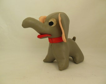 Gray Vinyl Toy Elephant Made in Japan Leatherette 1960s Collectible Animal