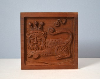 Vintage Evelyn Ackerman Panelcarve Carved Wood Lion Wall Plaque