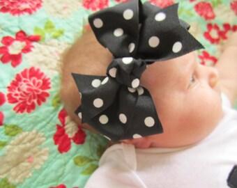 black and white polka dot bow headband