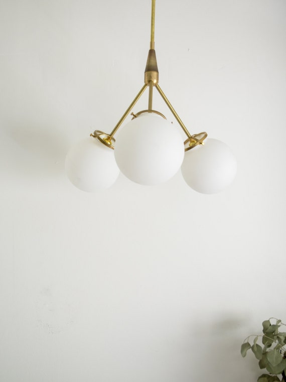 White bubble glass chandelier brass modern mid century hanging