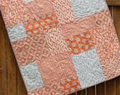 Orange Baby Quilt, Mixologie Quilt, Baby Boy Quilt, Gender Neurtral, Gray Orange White, Crib Quilt, Polka Dot, Nursery Bedding, Girl Quilt