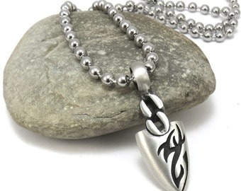Tribal Jewelry, Arrowhead Jewelry - Modern Arrowhead Necklace with Mens Stainless Steel Ball Chain