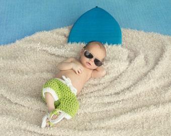 Newborn Summer Swim Trunk Board Shorts Crochet Photo Prop