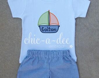 Personalized Sailboat Shirt + Coordinating Bottoms