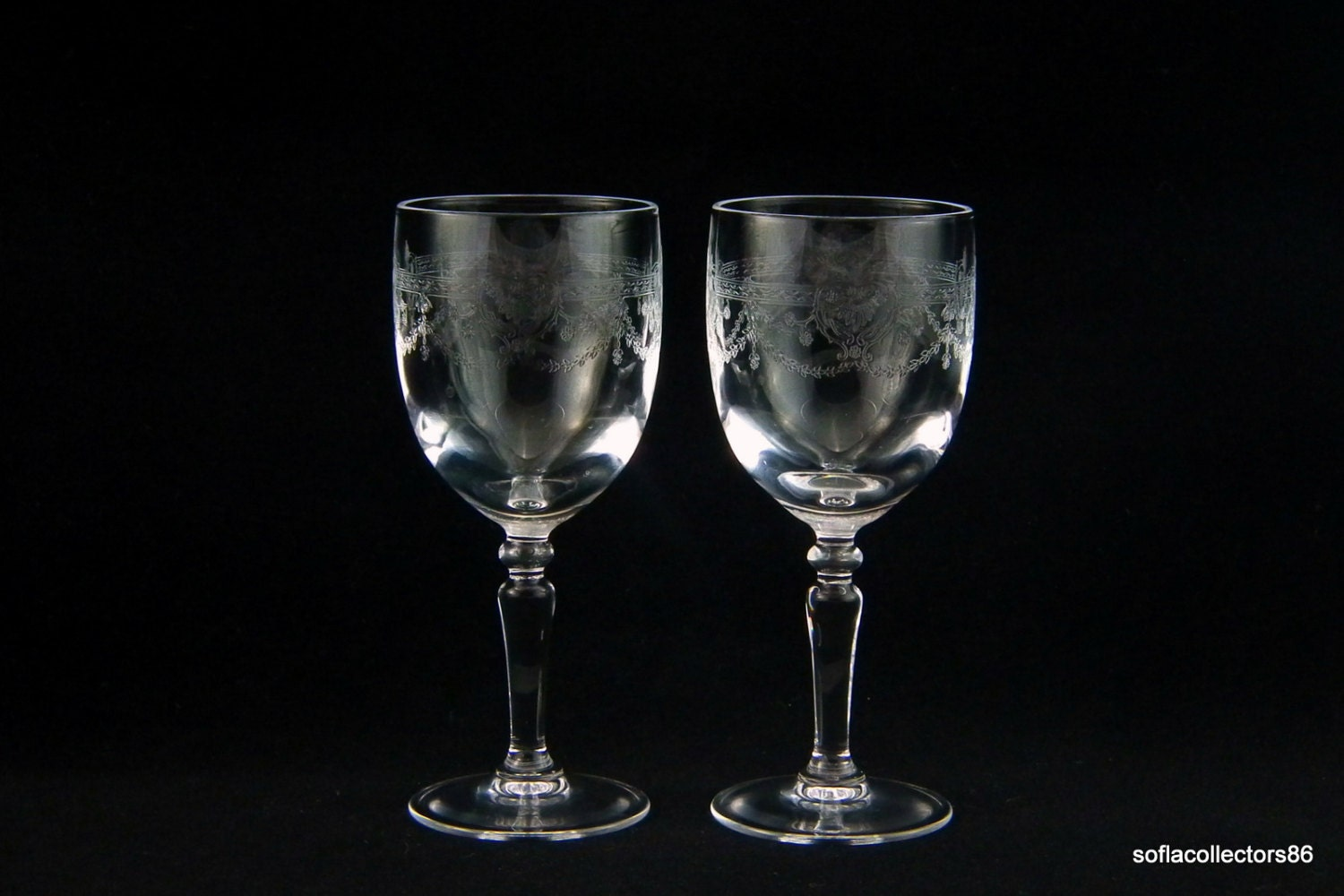 Port Wine Glasses / Sherry Glasses with Etched Swag and